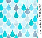 seamless watercolor rain... | Shutterstock .eps vector #279076535