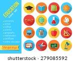 set of flat school and... | Shutterstock .eps vector #279085592