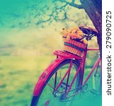 Vintage Bicycle With Flowers On ...