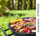 assorted delicious grilled meat ... | Shutterstock . vector #279094028