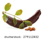 Carob Pod And Seeds Isolated O...