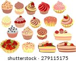 vector set of cakes  cupcakes... | Shutterstock .eps vector #279115175
