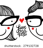 "Cute Doodle ""in Love"" Couple In ..."