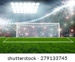 soccer ball on green stadium... | Shutterstock . vector #279133745