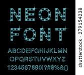 neon lamp font  cyan color.... | Shutterstock .eps vector #279154238