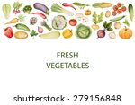 set of watercolor vegetables... | Shutterstock .eps vector #279156848