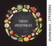set of watercolor vegetables ... | Shutterstock .eps vector #279156866