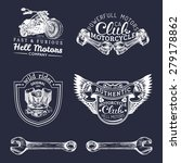 vector vintage biker club signs.... | Shutterstock .eps vector #279178862