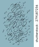 calligraphic alphabet. design... | Shutterstock .eps vector #279187256