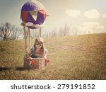 a little girl is sitting in a... | Shutterstock . vector #279191852