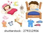 sleeping kids vector set | Shutterstock .eps vector #279212906