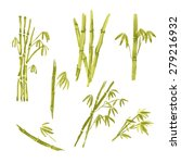 watercolor paint bamboo ... | Shutterstock .eps vector #279216932