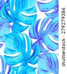 seamless monstera leaves... | Shutterstock . vector #279279386