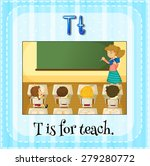 flashcard letter t is for teach | Shutterstock .eps vector #279280772