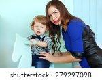 woman and little sad boy... | Shutterstock . vector #279297098