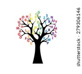 black tree and colored letters | Shutterstock .eps vector #279306146