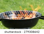 empty grill with fire flames... | Shutterstock . vector #279308642
