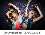 two energetic girls dancing in... | Shutterstock . vector #279322715