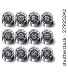 Zodiac astrology symbols on vector industrial rubber buttons - full set - stock vector