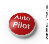Red circular Auto Pilot button with a curved surface on a white background
