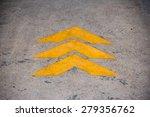 the yellow arrow on floor... | Shutterstock . vector #279356762