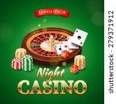 Постер, плакат: Casino background with roulette