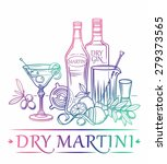 cocktail dry martini with... | Shutterstock .eps vector #279373565