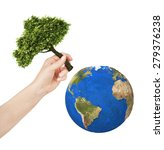 earth  hand planting a tree on... | Shutterstock . vector #279376238