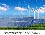 solar panels and wind turbines... | Shutterstock . vector #279376622