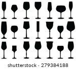 set of wine glasses  vector ... | Shutterstock .eps vector #279384188