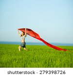 young lady runing with tissue... | Shutterstock . vector #279398726