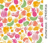 seamless pattern  fruits and... | Shutterstock . vector #279435416
