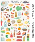 food collection   food mix | Shutterstock .eps vector #279457952