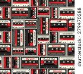 Retro Cassette Seamless Vector...