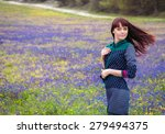 young beautiful woman with long ... | Shutterstock . vector #279494375