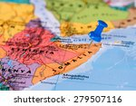 map of somalia with a blue... | Shutterstock . vector #279507116