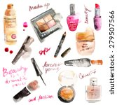 glamorous make up watercolor... | Shutterstock .eps vector #279507566