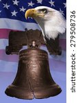 Small photo of Photo montage: Liberty Bell, American eagle, American flag