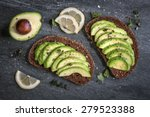 Avocado Sandwich On Dark Rye...