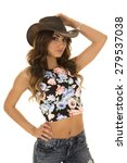 a cowgirl in her western hat... | Shutterstock . vector #279537038