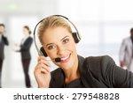 call center woman talking to... | Shutterstock . vector #279548828