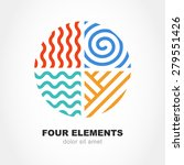 Four Elements Simple Line...