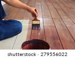 hand painting oil color on wood ... | Shutterstock . vector #279556022