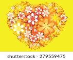 vector heart shape with flower | Shutterstock .eps vector #279559475
