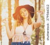 beautiful bohemian young blonde ... | Shutterstock . vector #279566312