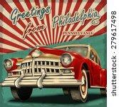 Vintage Touristic Greeting Car...