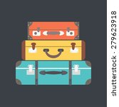 stack of suitcases. flat vector ... | Shutterstock .eps vector #279623918