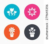 Circle Buttons. Flowers Icons....