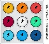 pushpin icon. flat design style.... | Shutterstock .eps vector #279653786