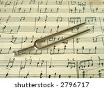 fork on old sheet music  closeup | Shutterstock . vector #2796717